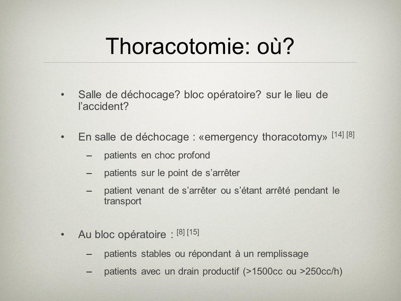 Thoracotomie: où Salle de déchocage bloc opératoire sur le lieu de l'accident En salle de déchocage : «emergency thoracotomy» [14] [8]